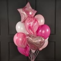 Фонтан из бело-розовых шаров с фольгированными агатами