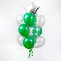 Фонтан из зелёных и серебряных шаров