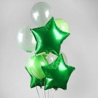 Фонтан из зеленых шаров кристалл и зеленых звезд