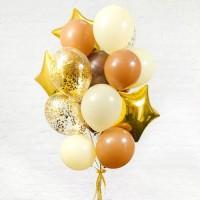 Композиция из карамельных и шаров с гелием айвори со звёздами