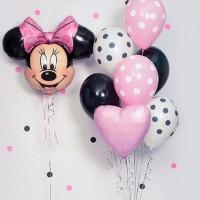 Фонтан из розовых, белых и черных шаров с сердцем и Минни Маус