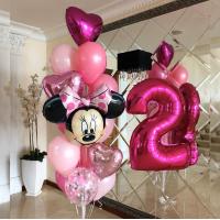 Фонтан из розовых шаров с сердцами, Минни Маус и цифрой 2