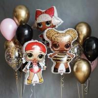 Композиция из золотых, черных и розовых шаров с куклами ЛОЛ