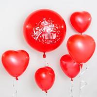 Красный шар с сердцами для учителя