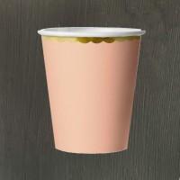Стакан розовый с золотой каймой 180 мл - 6 шт