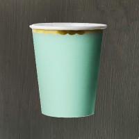 Стакан зеленый с золотой каймой 180 мл - 6 шт