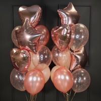 Композиция из шаров розовое золото с сердцами и звездами