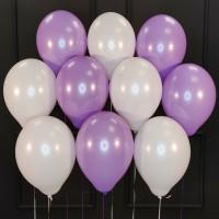 Воздушные белые и сиреневые шары матовые