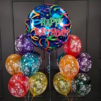 Композиции из шаров разноцветных кристалл с большим шаром