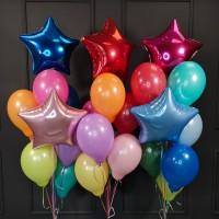 Композиции из шаров разноцветных со звездами