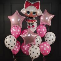 Композиция из шаров в горошек с куклой ЛОЛ (LOL) и звездами