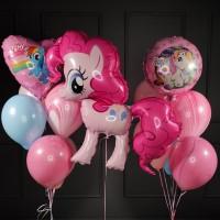 Композиция из розово-голубых шаров с Пинки Пай My little pony
