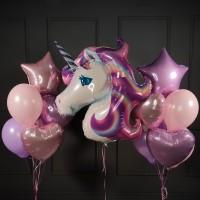 Набор шариков розовых и сиреневых воздушных с Единорогом