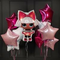 Композиция из воздушных шаров с куклой ЛОЛ (LOL) и звездами