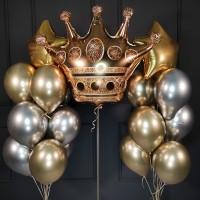 Набор из хромированных шаров с короной и звездами