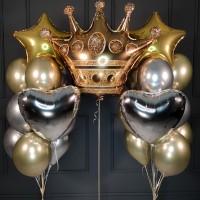Набор шариков с короной и звездами и сердцами