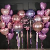 Композиция из фольгированных сердец и сфер с шаром Bubbles