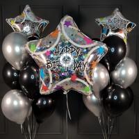 Набор из шаров черно-серебряных с большой звездой