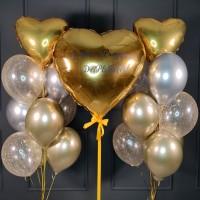 Набор из шаров серебряно-золотых хром с большим сердцем