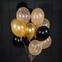 Облако черных, золотых и прозрачных шаров с золотым конфетти