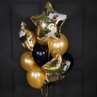 Фонтан из черных и золотых шаров со звездами на 23 февраля